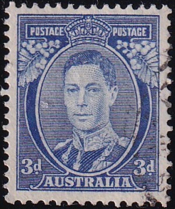 3d King George VI p 13½ x 14 - Bright Blue
