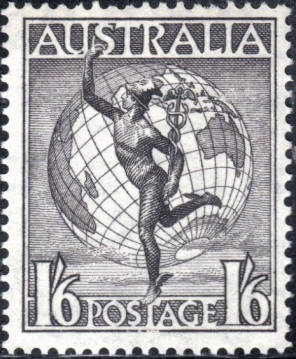 1/6d Hermes & Globe - Watermark C of A