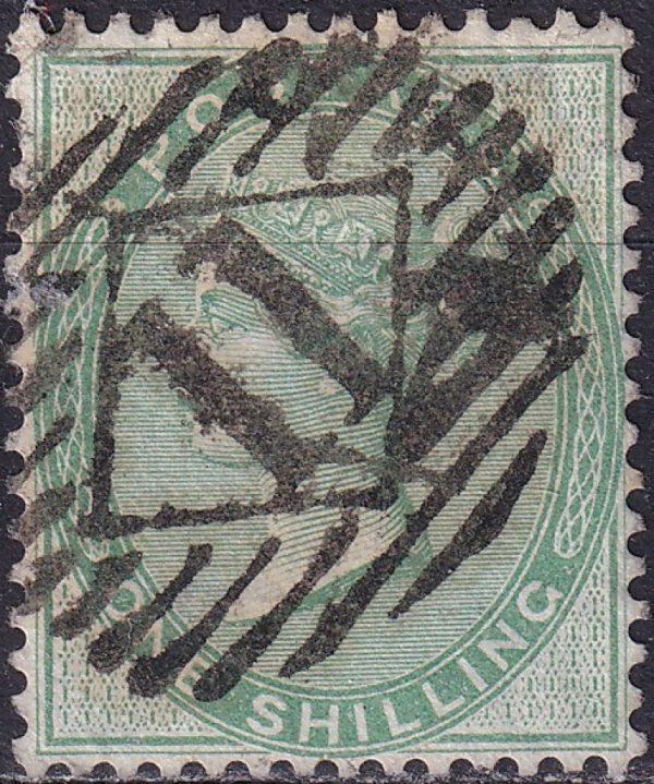 1/- green Queen Victoria. Watermark Emblems