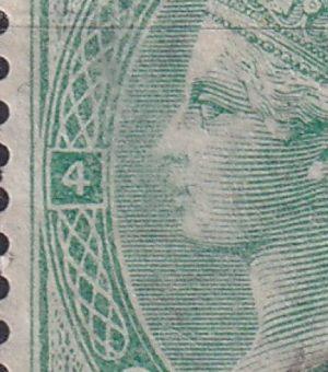 1/- green Queen Victoria. Watermark Large Garter. Plate 4