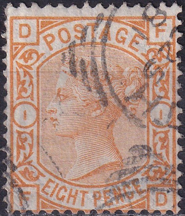 8d orange Queen Victoria. Watermark Large Garter