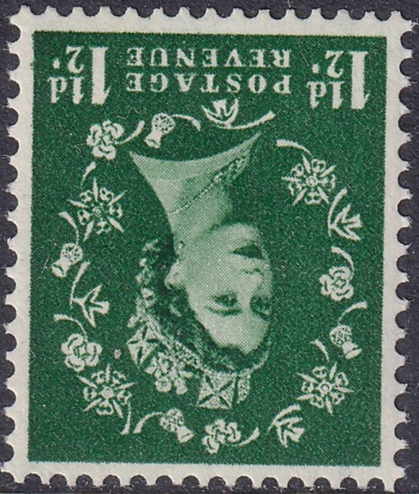 1½d green Queen Elizabeth II. Watermark Inverted