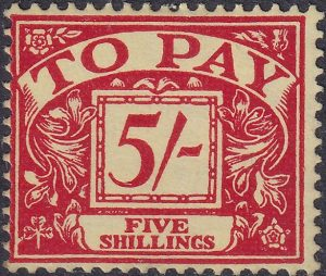 Postage Due. Watermark E2R & St Edward's Crown