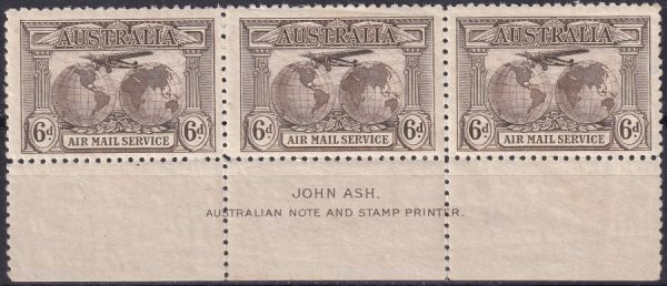 6d Airmail. Imprint strip of 3.