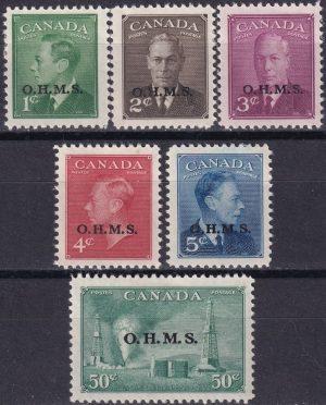 King George VI. Overprinted O.H.M.S.