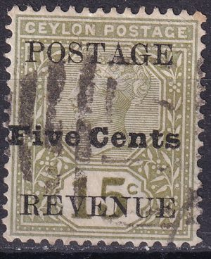 5c on 15c Queen Victoria. Listed Variety