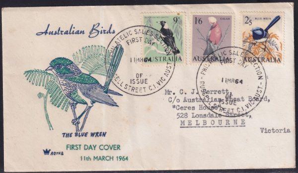 9d Magpie, 1/6d Galah and 2/5d Blue Wren