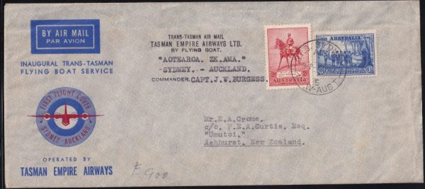 Australia to New Zealand Trans-Tasman Filght cover