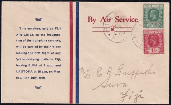 Labasa to Suva printed Fiji Air Lines cover